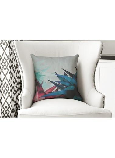 Lyn Home & Decor Yastık Kılıfı Pembe Turkuaz Çiçek Renkli